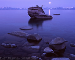Moonlight Bonsai (MattyD90) Tags: morning sky moon snow mountains reflection film water night sunrise mediumformat dawn bluewater laketahoe calm full boulders velvia granite bluehour provia moonset eastshore sandharbor bonsairock