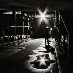 Meet me... (DomiKetu) Tags: bridge light bw white black reflection me monochrome silhouette night reflections dark stars puddle lumix lights star mono iron mood moody ironbridge panasonic reflet series puddles reflets meet meetme fz38 fz35