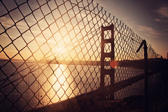 Hendrix Point (Leighton Wallis) Tags: sanfrancisco california birthday ca usa silhouette sunrise fence dawn bay unitedstatesofamerica goldengatebridge 75thanniversary marinheadland ggnpc11