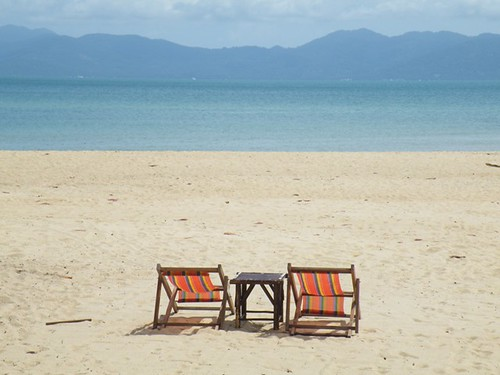 Two deckchairs, Mae Nam Beach, Ko Samui, Thailand