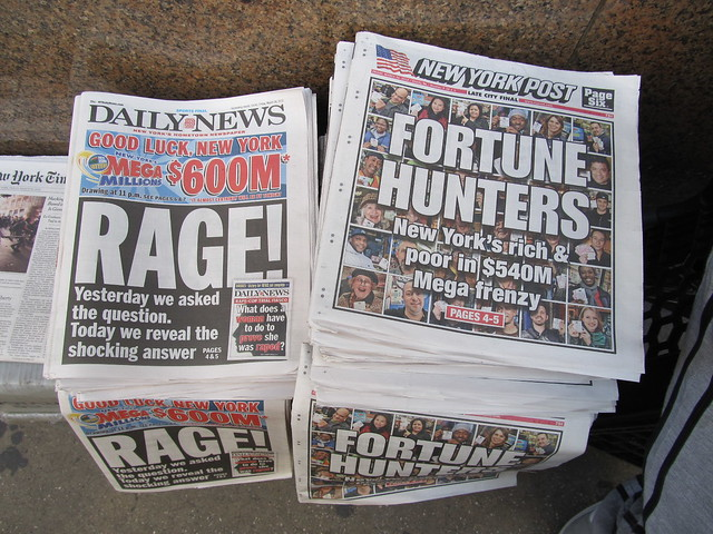 Newspaper coverage: the New York Daily News predicts the then-$540 million jackpot will hit $600 million by tonight, while the New York Post shares players hopes and dreams (03/30/12) (IMG_7418)