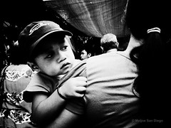 I Watch Your Back [Explored] (Meljoe San Diego) Tags: street bw child philippines mother streetphotography explore ricoh pangasinan grd4 meljoesandiego