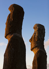 Moais In Ahu Akivi At Sunset, Easter Island, Chile (Eric Lafforgue) Tags: chile sunset sculpture color colour archaeology latinamerica southamerica statue vertical dawn chili pacific worldheritagesite pacificocean rearview moai easterisland colorphoto rapanui inarow isladepascua hangaroa archeologicalsite humanhead southpacificocean  6344  malelikeness ili  polynesianisland southamericanculture   ile    southeasternpacificocean polynesiantriangle chileanpolynesia