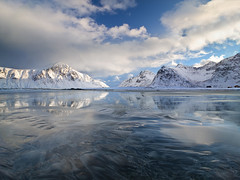 Arctic Beach (antonyspencer) Tags: winter snow seascape mountains ice beach nature norway landscape view arctic lofoten lofotenislands flakstad flakstadya