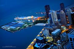 The Navy Pier (Jeff_B.) Tags: city blue chicago america illinois air shoreline lakemichigan northside ferriswheel navypier bluehour hancock hancockobservatory cityscapre streetervillie
