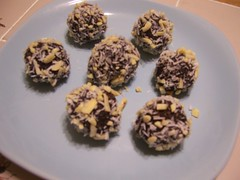 Almond Joy Truffle Bites (mewlkitten) Tags: dark recipe dessert vegan yummy healthy candy coconut chocolate joy almond free sugar delicious vegetarian almonds bites truffle gluten refined