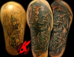 Reaper Cover-up Tattoo by Jackie Rabbit (Jackie rabbit Tattoos) Tags: city black up tattoo dark virginia scary reaper creepy cover roanoke va horror jackierabbitstar