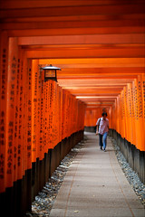 Fushimi Inari Taisha Shrine - Torii (Nada*) Tags: wood old light red orange black color colour lamp beautiful japan architecture wow way temple kyoto gate shrine asia gates path traditional famous vivid tunnel row tradition  shape iconic  torii      fushimiinaritaishashrine senbontorii redgates tunneloftorii rowoftorii