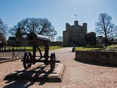 Rochester Castle - Cannon and Keep (bvi4092) Tags: blue sky building castle photoshop nikon exterior bluesky historic rochester cannon keep nikkor rochestercastle d300s nikon18105mmf3556