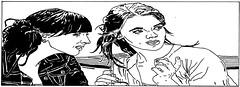 beirt chailn sa tigh tae | two girls in the tea house (stiobhard) Tags: girls two people blackandwhite bw white distortion black glass monochrome illustration pen paper sketch blog cafe women tea drink drawing juice pair banner drinking straw talk coffeeshop line jeans whitebackground jacket website denim conversation language talking gaeilge speech teahouse markers masthead gossip whiteonblack publicplace bristolboard gaoluinn stiobhard graphicdesignrocks