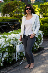 white blazer, grey jeans, lace up flats, white bag-9.jpg (LyddieGal) Tags: white fashion grey spring outfit gap style denim wardrobe tjmaxx blazer rayban officestyle gorjana rebeccaminkoff laceupflats