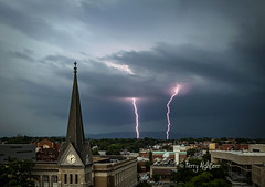 6:11 O'Clock Strikes - Thunderstorm Roanoke (Terry Aldhizer) Tags: city 6 church weather virginia memorial 11 steeple roanoke terry bolt thunderstorm lightning six greene eleven strikes thunder 611 aldhizer wwwterryaldhizercom
