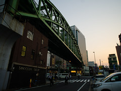 Sobu Line Bridge (H.H. Mahal Alysheba) Tags: street bridge japan architecture lumix tokyo twilight outdoor dusk snapshot wide akihabara kowa prominar gx7 12mmf18