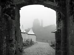 Misty Corfe Castle 171/366 (dawn.v) Tags: uk england blackandwhite castle june misty stone tents ruin landmark rainy dorset corfe corfecastle 2016 lumixtz25 2016yip 366daysin2016