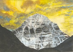 Bhagvati Nath  Mount Kailash at Sunrise, 2001. painting: watercolor on paper, 9.8 x 7.1 in.. LandscapeYellow Sky Sunrise and Sunset (ArtAppreciated) Tags: sunset sky mountain art nature yellow female sunrise watercolor painting landscape outdoors contemporary indian fineart blogs mount artists kailash scapes nath 2000s artblogs tumblr bhagvati artoftheday artofdarkness date2001 artappreciated artofdarknessco artofdarknessblog pixeleum