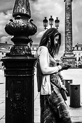 Street - Verticality (Franois Escriva) Tags: street city blue light sky people urban bw woman sun white black paris france beautiful vertical photo pretty dress candid streetphotography olympus nb rue omd verticality