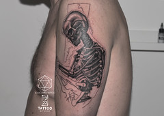 Skeleton Illustration Tattoo (13.22 Tattoo Studio) Tags: road park man black west london art tattoo illustration studio skeleton grey 22 cool soft artist north fine working progress wip x line professional clean queens edge portobello custom popular 13 fk kilburn silverback realistic irons shading tattooist brondesbury stylised nw6 ladbroke sourgrapes spektra sourgrapestattoo 02074610433