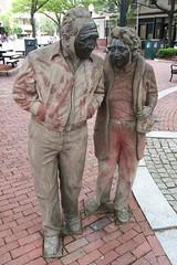 Fishman And Fishwoman (ArtFan70) Tags: sculpture usa art statue america ma couple unitedstates mask massachusetts newengland statues marriage tyler masks somerville davissquare jamestyler restaurantowners fishmanandfishwoman