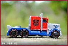 Mini OP (tamahaji) Tags: blue red scale truck silver prime miniature official bokeh mini transformers optimus op ho autobot hasbro diecast tamahaji