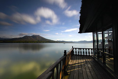 Batur Mountain View over the Floating Restaurant (Pandu Adnyana (thanks for 100K views)) Tags: bali lake indonesia long exposure batur