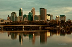 Minneapolis Dusk (Doug Wallick) Tags: bridge urban minnesota skyline reflections river mississippi downtown dusk broadway plymouth minneapolis lightroom a55 picmonkey