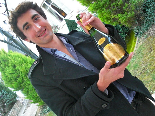 Jean-Christophe Barnardin shows his family's Champagne at a friendly tasting in Beaune.