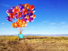 Imagination (wellscenephotography (ON)) Tags: blue red orange inspiration color field balloons fun creativity hope colorful aqua purple humor vivid vision helium imagination concept challenge whimsical 2012 iphone mobilegame