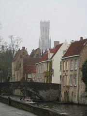 Distant view of Belfort, along a canal in Bruges, Belgium (Paul McClure DC) Tags: architecture belgium brugge historic westvlaanderen bruges flanders apr2012