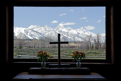 Chapel of  the Transfiguration (bhophotos) Tags: travel usa snow mountains landscape geotagged spring nikon chapel logcabin valley wyoming tetons jacksonhole grandtetonnationalpark chapelofthetransfiguration gtnp d700 2470mmf28g bruceoakley