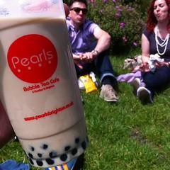 Drinking a bubble tea in the sun