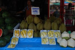 Durian stall - Talat Waroros Market (avlxyz) Tags: travel holiday fruit thailand market durian chiangmai warorotmarket talatwarorot warorosmarket talatwaroros