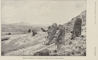 Moai (Lava Stone Effigy Head) at Base of Volcano Outer Slope DEC 1886Show details     Creator: Thomson, William J.