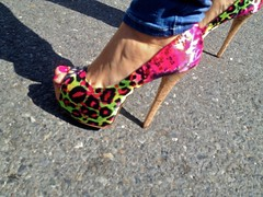 Pink & Green Leopard Print Platform Heels (Lynn Friedman) Tags: sanfrancisco ca street party usa festival fair celebration mission carnaval faire 94110 lynnfriedman