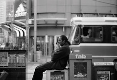 along.for.the.ride (jonathancastellino) Tags: street toronto man film 35mm sitting ttc stranger f2 yonge dundas streetcar