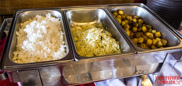 Steamed Pandan Rice, Clams and Cilantro Rice and Rosemary Marble Potatoes