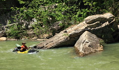 Kayaker and Boulders, Base of Roark Bluff at Steel Creek Campground - Buffalo River, Northwest Arkansas (danjdavis) Tags: rocks kayak boulders kayaking arkansas kayaker buffalonationalriver buffaloriver roarkbluff steelcreekcampground