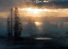 Yellowstone Sunrise (www.arayphoto.com) Tags: lake mountains nature sunrise nationalpark steam yellowstone wyoming geyser hotspring thermal mineralpool