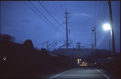 (bensn) Tags: road street light mountain film japan night dark 50mm evening pentax slide flare provia nagano lx industar asama 100f f35 at200