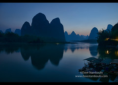 Blue light on the famous 20 yuan view of the Li River at Xingping, Guangxi Autonomous Region, China (jitenshaman) Tags: china travel blue light mountains reflection nature water river landscape asian liriver li scenery asia dusk guilin yangshuo famous chinese icon limestone destination peaks karst iconic yuan currency bluelight guangxi xingping worldlocations
