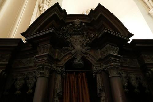 Przyczółek konfesjonału południowo-zachodniego (1717-20, Klahr Starszy) w kościele Wniebowzięcia NMP w Kłodzku