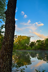 And More Fog on Pond (thefisch1) Tags: morning sky cloud reflection tree water leaves misty fog landscape early interesting pond nikon colorful hills kansas nikkor flint nikor
