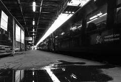Y trn i Aberystwyth / The train for Aberystwyth (Rhisiart Hincks) Tags: adlewyrchiad islada adsked reflection faileas pwll poull rheilffordd henthouarn hynshorn trenbide burdinbide chemindefer railway rathadiarainn eisenbahn ferrocarril ferrovia iarnrd geleinkelis   kolej caleferat tr tren trena amwythig shrewsbury gorsaf geltoki tihenthouarn tigar gare estacion station stisean porzhhouarn duagwyn gwennhadu dubhagusgeal dubhagusbn zuribeltz czarnobiae blancinegre blancetnoir blancoynegro blackandwhite  bw feketefehr melnsunbalts juodairbalta negruialb siyahvebeyaz rnoinbelo    zwartenwit mustajavalkoinen crnoibelo ernabl schwarzundweis
