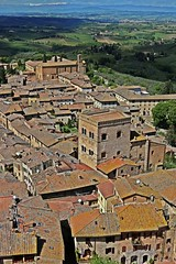 Roofs&Roofs (Emanuele Barcali) Tags: vacation sky italy sun black green tower love clouds countryside photo san artist view gimignano weekend withe sunny medieval hills tuscany sangimignano castello borgo castel torri blackwithe togheter