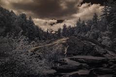 Bridal Veil Falls (Bill Gracey) Tags: trees vacation nature clouds ir waterfall highcontrast northcarolina infrared bridalveilfalls brevard dupontforest convertedinfraredcamera