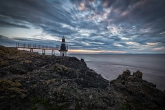 Portishead Lighthouse (technodean2000) Tags: ocean bridge sunset sea england lighthouse tower architecture bristol evening nikon rocks outdoor portishead somerset handheld rockpool lightroom d600 d610