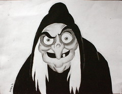 Evil queen (HebaTT) Tags: old white snow scary drawing evil disney queen seven charcoal hag 2012 1937 dwarfs