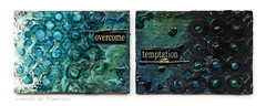 overcome temptation - atc set (finnabair) Tags: blue black atc mixedmedia tradingcard card