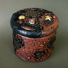 Found Object Lidded Glass Jar (MandarinMoon) Tags: texture polymerclay foundobjects glassjar glassvase blackandbrown polymerclayvase