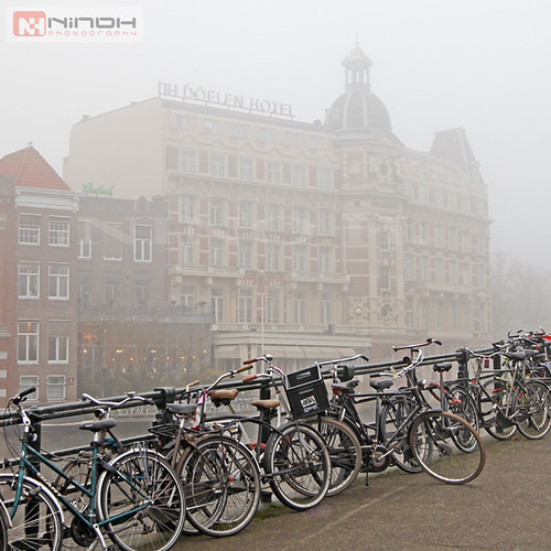 Bikes and fog in Amsterdam
