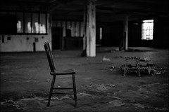 The Chair III @ KVL Oisterwijk (Jan Hoogendoorn) Tags: blackandwhite bw holland building abandoned netherlands dutch chair zwartwit nederland stoel oisterwijk hdr decayed urbanexploring ue gebouw zw urbex verlaten vervallen kvl enfuse leerfabriek koninklijkeverenigdeleder